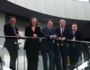 L-R Prof. Gordon Wallace, Dr. Ruth Adler, Minister Seán Sherlock, TD, Prof. Dermot Diamond, Dr. Stephen Daniels