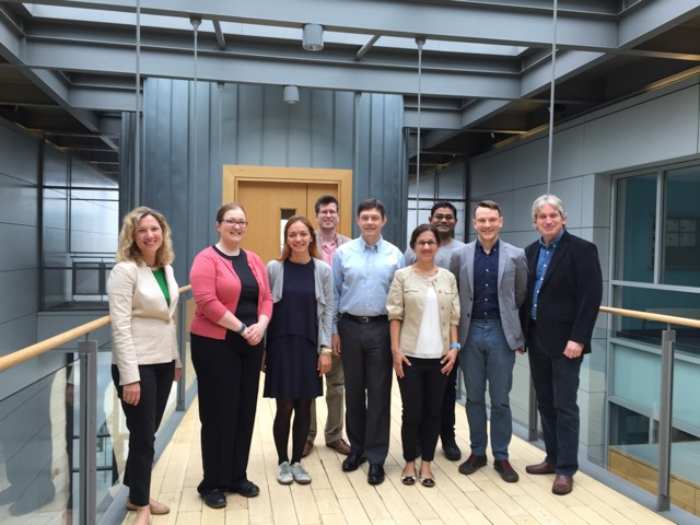 Left to right: Melanie Tomczak (UES), Breda Kiernan (Insight Centre manager), Larisa Florea (Insight-ASG Team Leader Materials Chemistry), Simon Coleman, (Insight-ASG Team leader Materials Integration), Ralf Lenigk (GE Global Research), Azar Alizadeh (GE Global research), Probal Bose (NBMC Project Engineer), Colm Delaney (NBMC Project Postdoctoral Fellow), Dermot Diamond (Insight PI, ASG Group Leader).